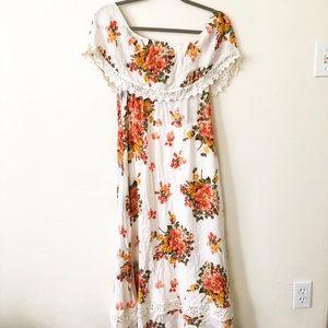 Altar'd State Off The Shoulder White Floral Dress